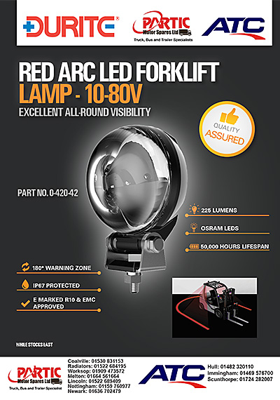 DURITE Red Arc LED Forklift Lamp - 10-80V